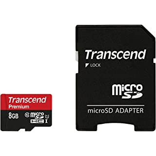 Transcend 8 GB MicroSDHC Class10 UHS 1 Memory Card with Adapter 45 MB/s  TS8GUSDU1