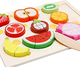 Babytintin Wooden 9 Pieces Magnetic Sliceable Fruit Cutting Game Kitchen Set Toy for Kids with Wooden Chopping Board and Knife