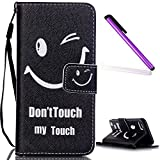iPod Touch 5 Coque Etui,iPod Touch 6 Cuir Wallet Coque Flip Cases Covers,iPod Touch 5G / 6G Leather Wallet Case Cover Skin.EMAXELERS iPod Touch 5 Antichoc,iPod Touch 5 Coque Fille,iPod Touch 6 Cute ange Modèle Soft Protection Flip PU Etui Housse Coque Coquille avec Stand et les fentes de carte de crédit pour iPod Touch 5 / 6,Smile