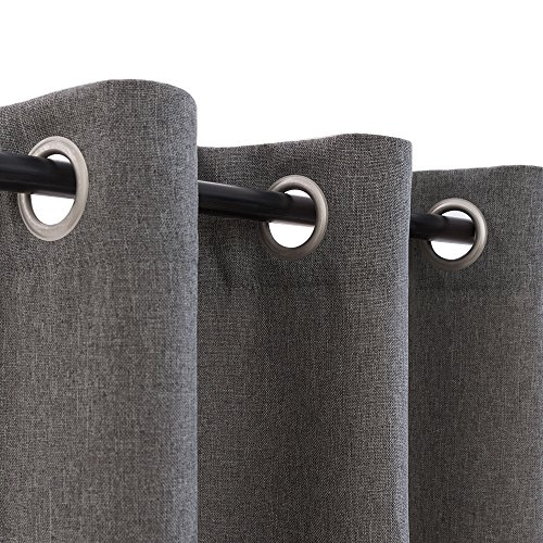 """Room Darkening Thermal Insulated Textured Faux Linen Curtain Panels for Bedroom Blackout Drapes Living Room, Eyelet Top, (W 52"""" x L 84"""", Charcoal Grey)"""