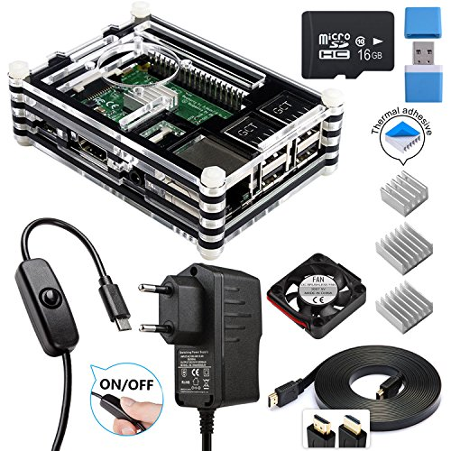 Für Raspberry Pi 3 b+ Gehäuse, Smraza Kit für Raspberry Pi 3 b+ Case mit Netzteil, 3x Kühlkörper, Lüfter und Micro SD-Karte Kompatibel mit Raspberry Pi 3 2 model b+ - Raspberry Sd Pi Karte