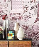 NEWROOM Kindertapete Rosa Schrift Städte Romantisch Papiertapete Lila,Pink Papier Tapete Jung