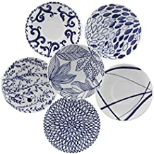 Borde de porcelana juego de 6 platos, porcelana, color azul, 0,1
