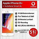 Apple iPhone 8 Plus (Gold) mit 64 GB internem Speicher, Vodafone Smart XL inkl. 11GB Highspeed Volumen mit Max 500 Mbits, inkl. Telefonie- und SMS Flat, EU-Roaming, 24 Monate Min. Laufzeit, mtl.