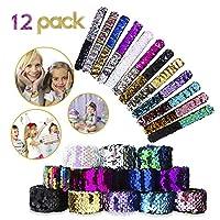 VCOSTORE Mermaid Slap Bracelets for Kids, 12 Pcs Mermaid Party Supplies, 2-Colors in 1 Reversible Charm Sequins Soft Velet Flip Wristband Stylish Decor