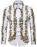 WHATLEES Herren Langarm Druckmuster Hemd - Dress Shirt mit Stehkragen und Luxus Barock Stil B702-19-S