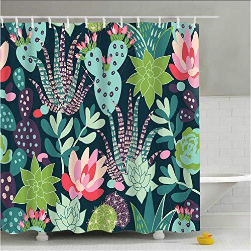 XQWZM 180X180 cm Grüne Topfpflanzen Duschvorhang Für Bad Wasserdicht Druck Kaktus Sukkulenten Bad Vorhang Mit 12 Haken