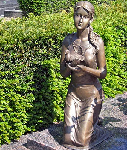 Thermobrass H.Packmor GmbH Bronzeskulptur kniende Frau mit Vogel Grabdekoration Dekorationsfigur Braun