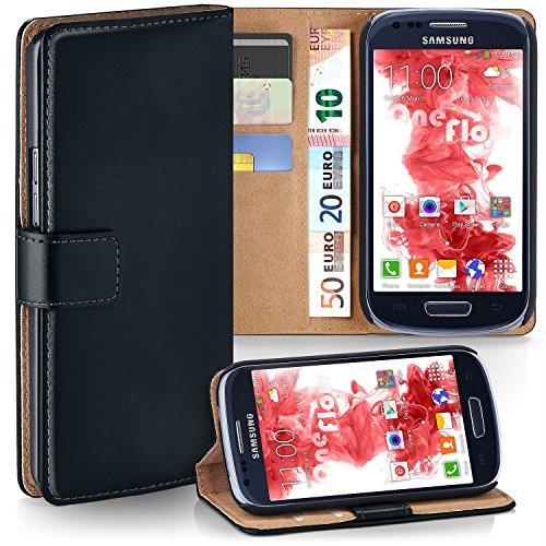 Leder 3 Tasche (Samsung Galaxy S3 Mini Hülle Schwarz mit Karten-Fach [OneFlow 360° Book Klapp-Hülle] Handytasche Kunst-Leder Handyhülle für Samsung Galaxy S3 Mini S III Case Flip Cover Schutzhülle Tasche)