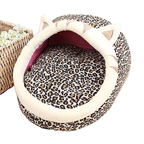 Weich waschbar Bequem Herbst und Winter Modelle Cartoon Haustiere Tierform Hausschuhe Nest Cartoon Nest Pet Warm Korbbett (Farbe : Leopard Fawn, Größe : L)