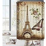 bearbae de 16piezas de París de la torre Eiffel de cortina de ducha, diseño de juego de alfombrilla de baño alfombrilla de contorno para tapa de inodoro con 12ganchos