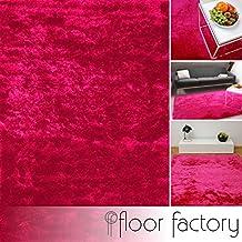 Alfombra de Pelo Largo Satin rosa fucsia 80x150 cm - Edición de Lujo