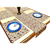 Miyanbazaz Textiles 100% Cotton Paisley Printed Table Line Set, 4 Mats & 1 Runner, Pack Of 5