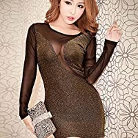 'Spritech (TM) da donna Sexy rete Bodycon See-Through Base Camicia Clubwear Nightclub Dress, Golden, Size:M