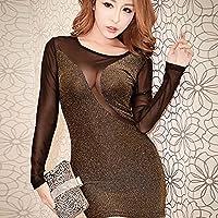 'Spritech (TM) da donna Sexy rete Bodycon See-Through Base Camicia Clubwear Nightclub Dress, Golden, Size:M