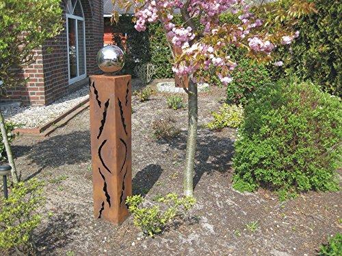 Jabo Design Rost Säule RS18 Rostsäule Gartensäulen Gartendeko Deko rostig Edelstahlkugel Rostsäule
