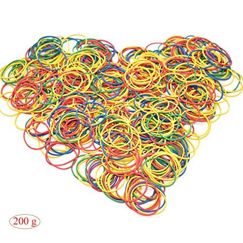 Gummibänder Bunt,Xiuyer Elastische Gummiringe Haushalt 38 x 14 mm Klein Rubber Bands für Büro Haus Schule Lieferungen(200g, ca. 600 Stück)