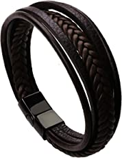 The Jewelbox Braided Multi-Layer Wrap Matte Leather Wrist Band Strand Bracelet for Men (Brown,B1898WWSTII-DS-I)
