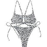ZAFUL Set Bikini Imbottito in Due Pezzi da Donna, Costume da Bagno Bikini a Triangolo con Spalline e Motivo Leopardato
