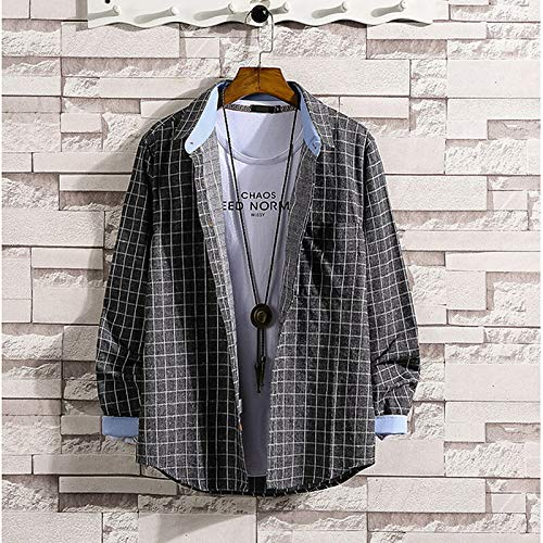 IYFBXl Herren Basic Shirt - Hahnentritt, Grau, XL -