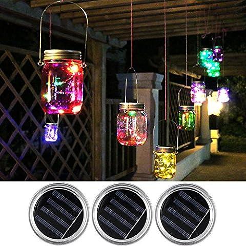 Mason Jar Light Lids-Solar LED Romantique 5 couleurs Changing String Lights-Fairy Lights for Decoration / Party / Christmas / Carnival / Easter / Gardening / Wedding / Halloween / Valentine's Day par Longju (3 PACK)