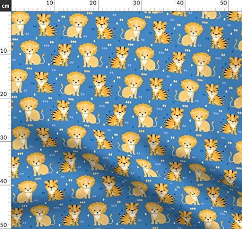 Löwe, Tiger, Katzen, Wild, Tier Stoffe - Individuell Bedruckt von Spoonflower - Design von Heleenvanbuul Gedruckt auf Minky (Katze Kuscheltier Wild)