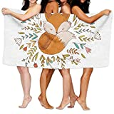 Doormat bag Cartoon Cute Baby Fox Sleeping in A Floral Made Bed Circle Soft Absorbent Beach Towel Pool Towel 30x50