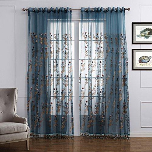 GWELL Luxus Elegant Transparent Vorhang Gardine Blumen Druck Voile Schal mit Quaste TOP QUALITÄT für Wohnzimmer Schlafzimmer 1er-Pack blau rosa - Für Vorhänge Wohnzimmer Blau