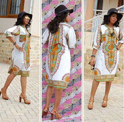 Sannysis Damen Tiefem V-Ausschnitt Traditionelle afrikanische Druck-Partei-Kleider Weiß