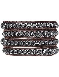 Rafaela Donata - Bracelet en cuir véritable - Cuir véritable acier inoxydable hématite, bracelet hématite, collier en cuir véritable, bijoux en cuir, bijoux en hématite - 60291028