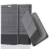 Cadorabo Coque pour Sony Xperia M5, Gris Noir Design Tissue-Simili Cuir...