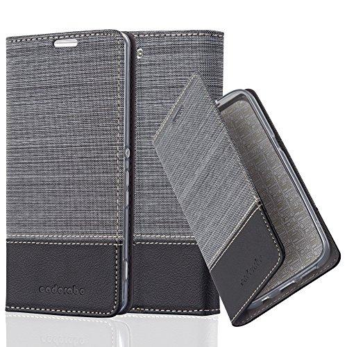 Preisvergleich Produktbild Cadorabo - Book Style Schutz-Hülle für Sony Xperia M5 case cover im Stoff - Kunstleder Design mit Kartenfach,  Standfunktion und unsichtbarem Magnet-Verschluss in GRAU-SCHWARZ