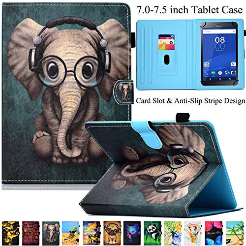 Universal Tablet-Schutzhülle, Artyond PU Leder Multi-Winkel Ständer Hülle mit Kartenschlitzen für Android, Windows, Kindle, Galaxy Tab und andere 17,8-7,5 Zoll Tablet, Elefant - Für 7-zoll-kindle Ständer