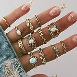 Fstrend Boho حجر الراين مجموعة الذهب كريستال ورقة المفاصل خواتم الإصبع تكديس متعددة الحجم ميدي مجوهرات اليد الملحقات للنساء و