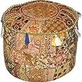 Indiase traditioneel huis decoratieve Ottomaanse handgemaakte en patchwork voetkruk vloerkussen, Indiaas geborduurd patchwork