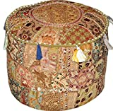 Indian Traditional Home Decorative Ottoman Handmade and Patchwork Foot Stool Floor Cushion, Indian Embroidered Patchwork Ottoman Cover, Designs Ethnic Patchwork Pouf, 14x22 Inch. By Bhagyoday