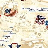 Timeless Treasure Stoff Baumwollstoff Motorrad Route 66 Map Road USA Meterware Stoff zum Nähen