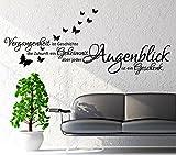 WANDTATTOO Sprüche/Zitate ***Vergangenheit ist Geschichte,...*** inkl. Schmetterlinge (Motiv 2, 120 cm)