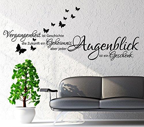 WANDTATTOO Sprüche/Zitate ***Vergangenheit ist Geschichte,...*** inkl. Schmetterlinge (Motiv 2, 120 cm) (120 Geschichte)