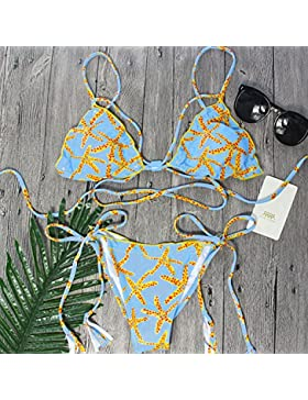 TIANLU Bikini Sexy Conjuntos Bañador de Adelgazamiento Trajes de Baño Dividir la Correa sin Respaldo de Moda Dividir...