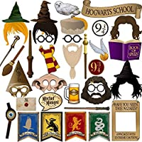 BizoeRade 37 pcs Photobooth Props, Wizard Castle Photo Booth Props Kit Photo Booth Accessories with Wooden Sticks for Harry Potter Party, Wedding, Baby Show, Birthday Party Decoration