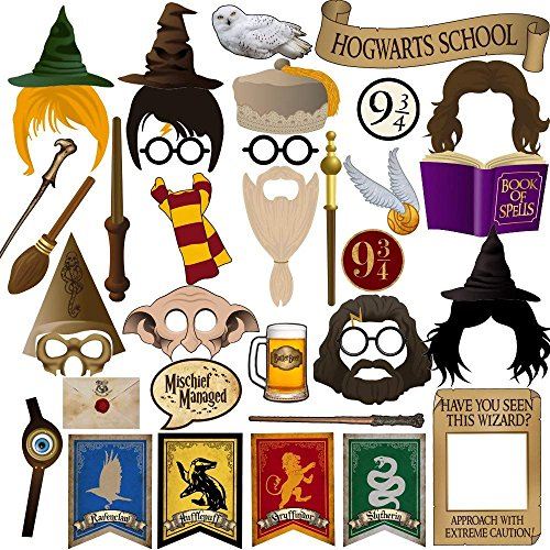 BizoeRade 37 Stück Photo Booth Props für Harry Potter Party, Hochzeit, Geburtstag, Babyparty, Reunion Deroration