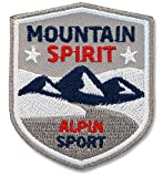 2 x Stick-Abzeichen 51 x 60 mm / Mountain Spirit - Alpin Sport / Applikation Aufnäher Aufbügler Sticker Flicken / Trekking Wandern Bergsport Wintersport Ski Snowboard Winter Mode Kleidung nähen bügeln