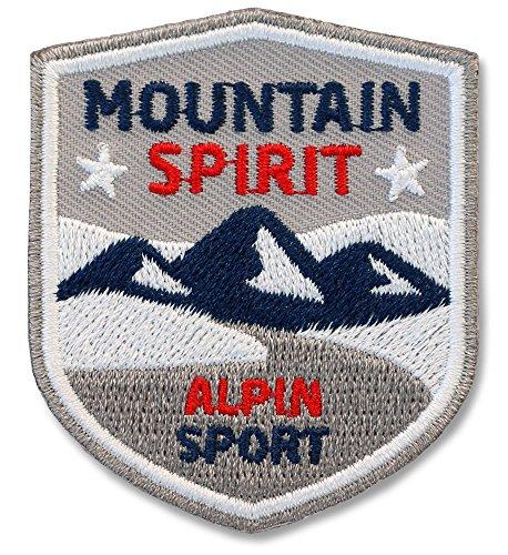 2er Pack, Stick-Abzeichen 51 x 60 mm / Alpin Mountain Spirit / Berge, Trails, Abenteuer / Applikation, Aufnäher, Aufbügler, Aufkleber, Bügelbild, Patch für Kleidung, Rucksack, Tasche