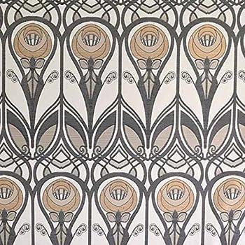 Charles Rennie Mackintosh Stil Stoff – Senf und grau Jacquard Weave ...