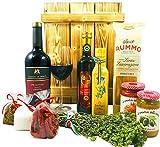 Großes italienisches Geschenkset mit Holzkiste | Geschenkkorb gefüllt mit italienischen Spezialitäten und Wein