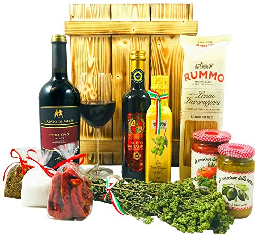 Großes Italienisches Geschenkset mit Holzkiste   Geschenkkorb gefüllt mit Wein und Delikatessen   Geschenk Set mit Italienische Spezialitäten, Feinkost