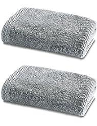 Linge de Bain en Bambou - Double Pack - 2 x Superbes Bambou Petits Carrés de Toilette - 600g/m² - Perle Gris - 30cm x 30cm