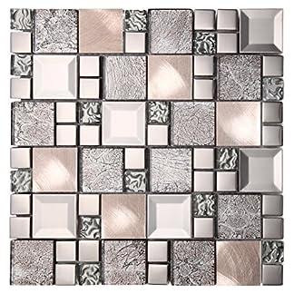 Mosaico de Vidrio y Aluminio en Malla ASX-Metal, Plata, 8 mm, 30 x 30 cm