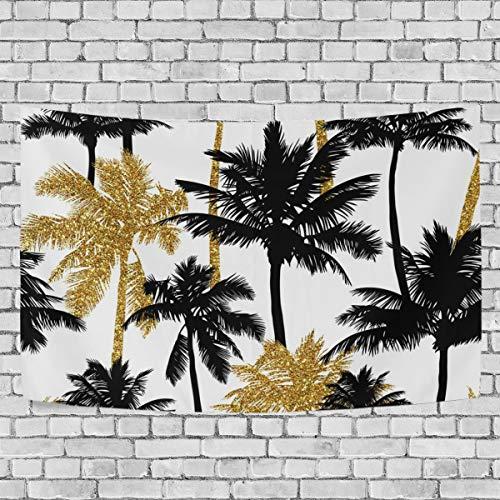 JSTEL Wandbehang mit Palmen in Gold und Schwarz, Wandbehang Dekoration für Wohnzimmer, Wohnzimmer, Tisch, Überwurf, Tagesdecke, Wohnheim, 100 x 150 cm, Multi, 150 x 130 cm